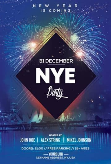 NYE 2019 Party Free New Year PSD Flyer Template