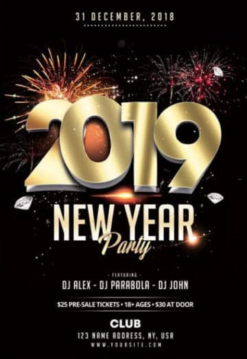 New Year 2019 Free Elegant PSD Flyer Template