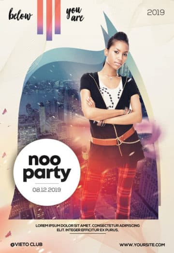 Free Noo Alternative Party PSD Flyer Template