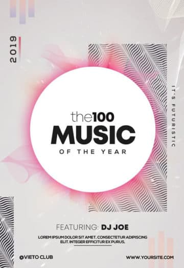 the100 Music Free Electro PSD Flyer Template