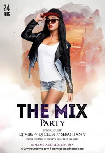 The Mix Free Party PSD Flyer Template