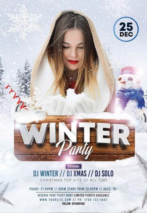 Winter Club Party Free PSD Flyer Template
