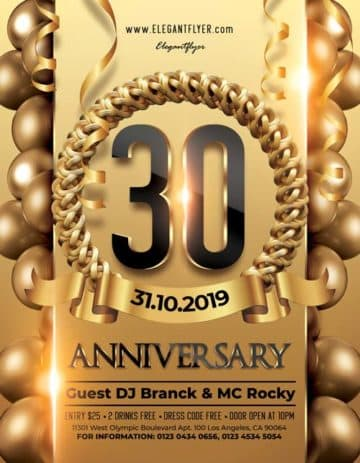 30th Anniversary Free Flyer PSD Template