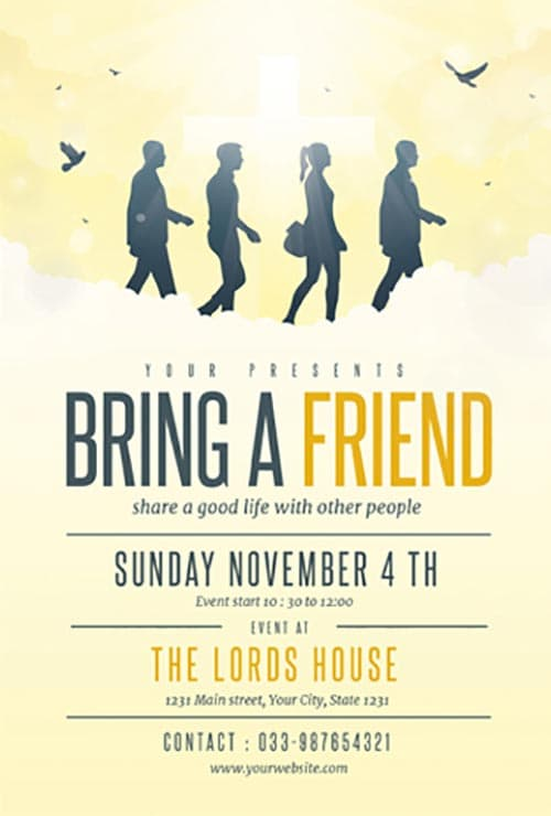 Bring A Friend to Church Free Flyer Template