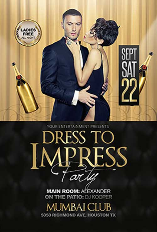 1746c2b269e Dress to Impress Party Free Flyer Template - Download PSD Flyer