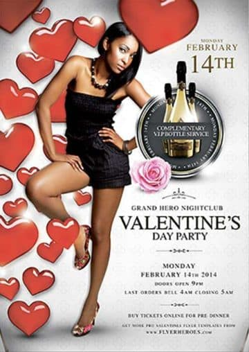 Elegant Valentine's Day Party Free Flyer Template