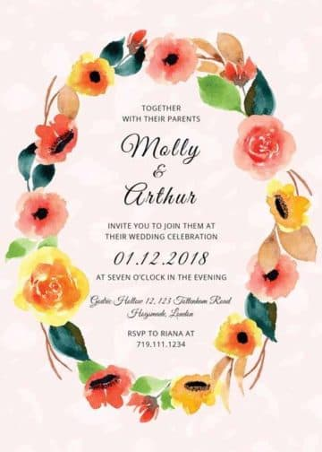 Floral Watercolor Wedding Invitation Free PSD Template