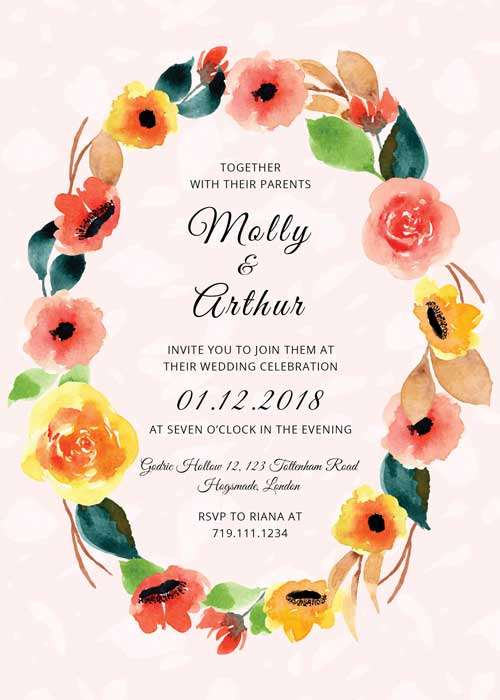floral watercolor wedding invitation free psd template. Black Bedroom Furniture Sets. Home Design Ideas