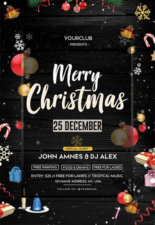 Free Christmas Event PSD Flyer Template for Christmas Party Events