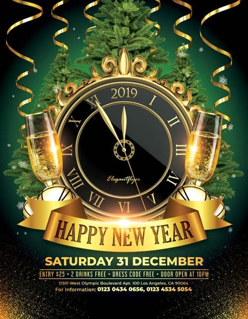happy new year 2018 free psd flyer template
