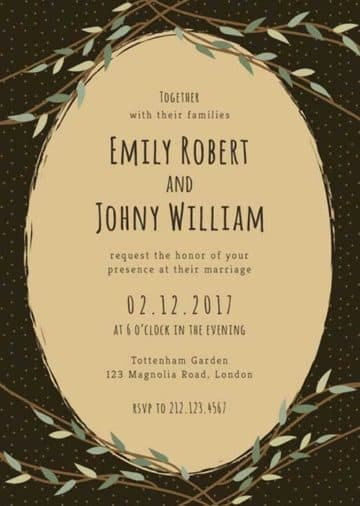 Illustrative Wedding Invitation Free PSD Template