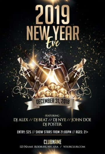 Luxury New Year Eve Free PSD Flyer Template