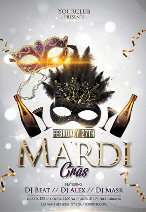 Mardi Gras Free Carnival Flyer Template