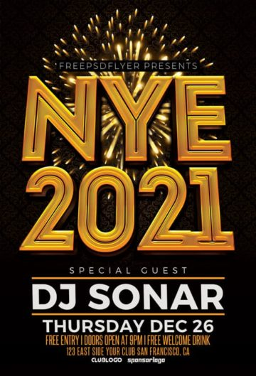 NYE 2021 Free PSD Flyer Template