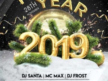 New Year Gold Party Free PSD Flyer Template