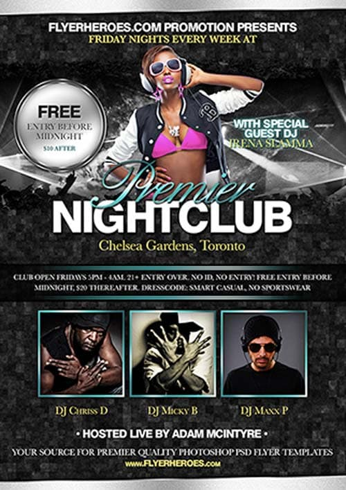 Premier Nightclub Free Party Flyer Template For Club Party Events