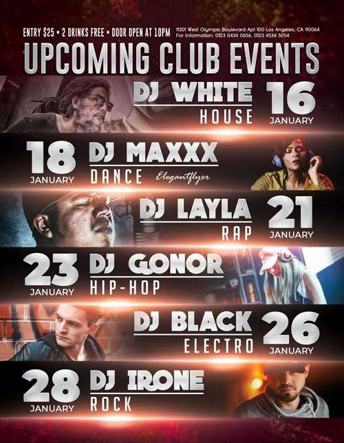 Upcoming Club Events Free PSD Flyer Template
