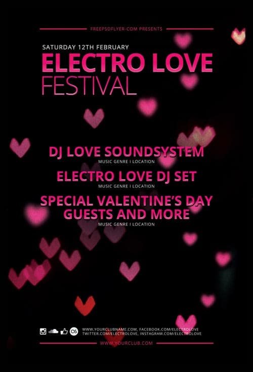 Electro Love Festival Free Flyer Template