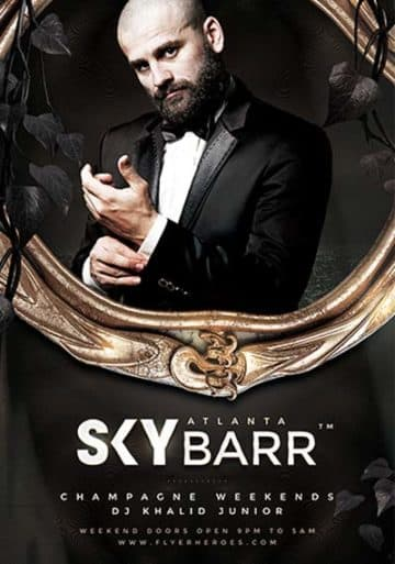 Elegant Sky Bar Party Free Flyer Template
