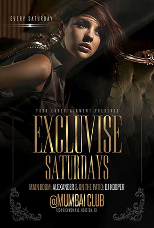 Exclusive Saturdays Party Free Flyer Template