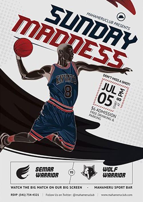 Free Basketball Match Flyer Template