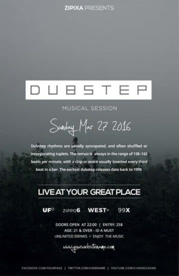Free Dubstep Party Flyer Template