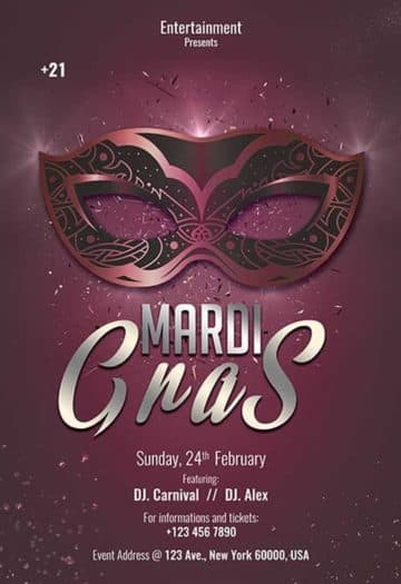 Download Free Mardi Gras Flyer PSD Templates for Photoshop