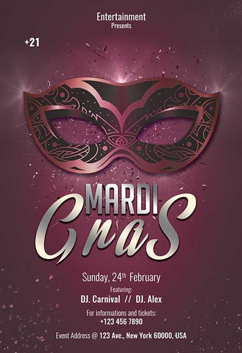 Free Mardi Gras 2019 Party Flyer Template