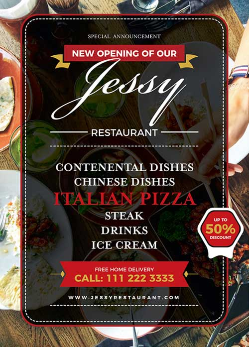 Free Restaurant Flyer and Poster Template