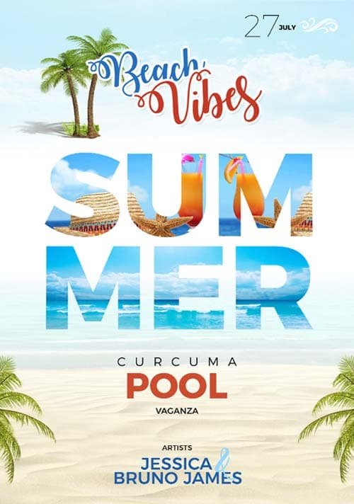 Free Summer Beach Flyer PSD Template