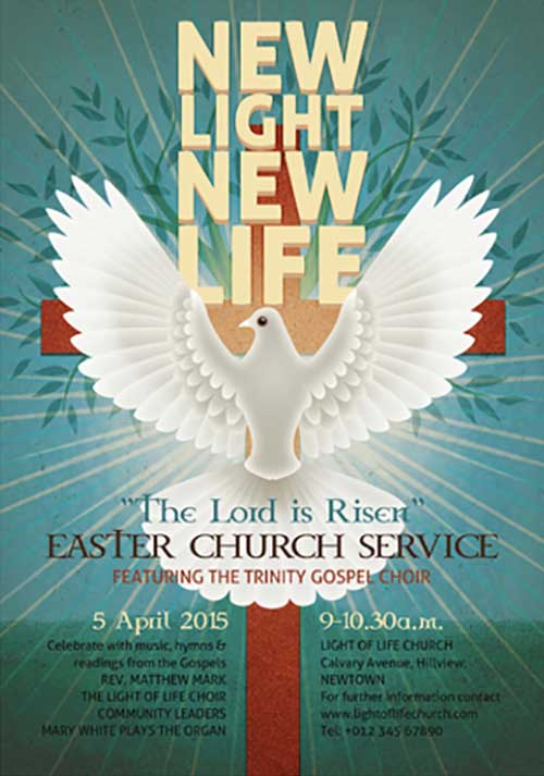 Illustrated Easter Church Event Free Flyer Template