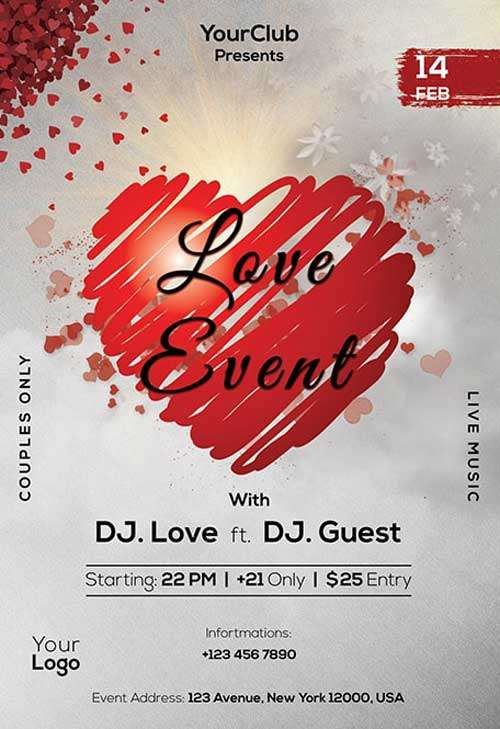 Love Event Free PSD Party Flyer Template