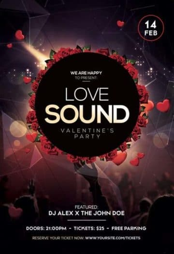 Love Sound Free PSD Flyer Template