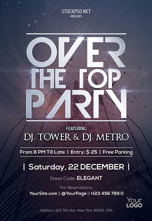 Over The Top Party Free PSD Flyer Template