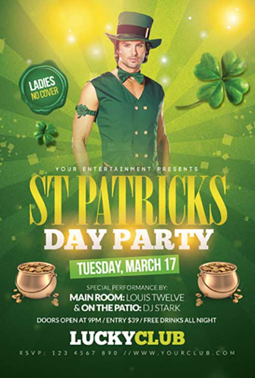 St. Patrick's Day Free Club Flyer Template