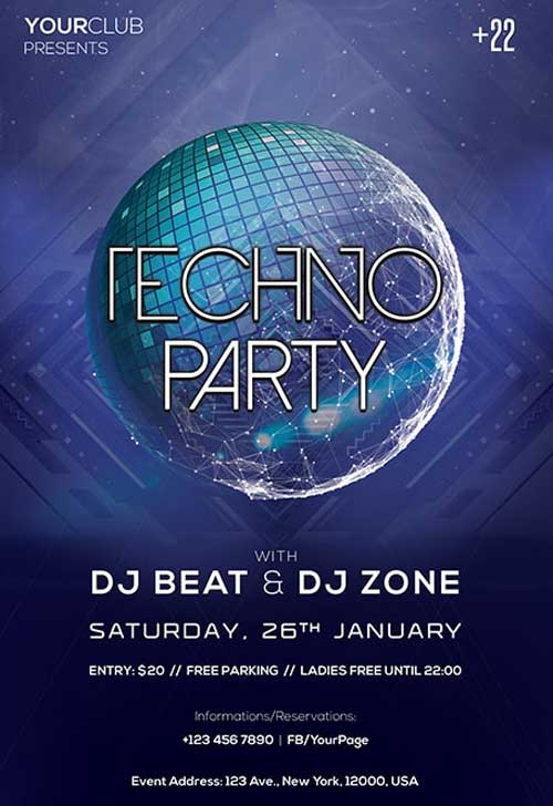 Techno Electro Party Free PSD Flyer Template