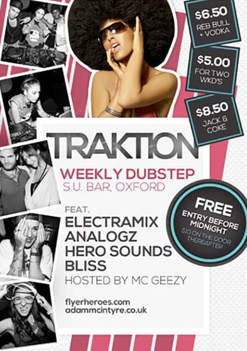 Traktion Dance Club Free Flyer Template