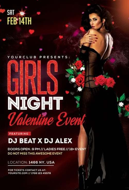 Valentines Day Girls Night Party Free PSD Flyer Template