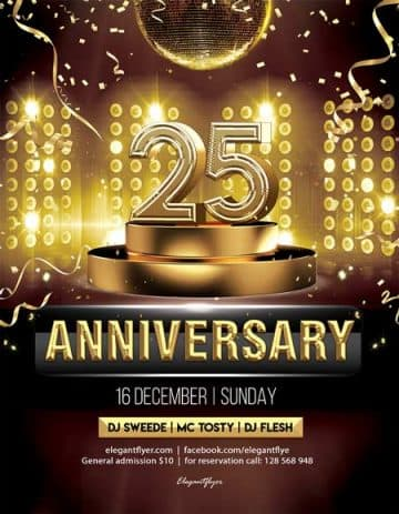 25th Anniversary Free Flyer Template