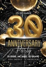 30th Anniversary Party Free Flyer Template