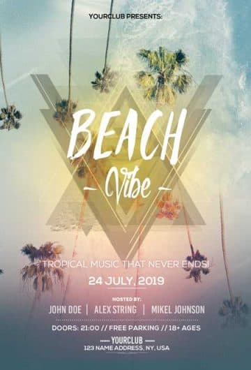 Beach Vibes Party Free Flyer Template