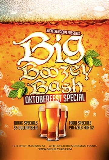 Big Boozey Bash Free Flyer Template