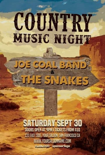Free Country Music Night Flyer Template