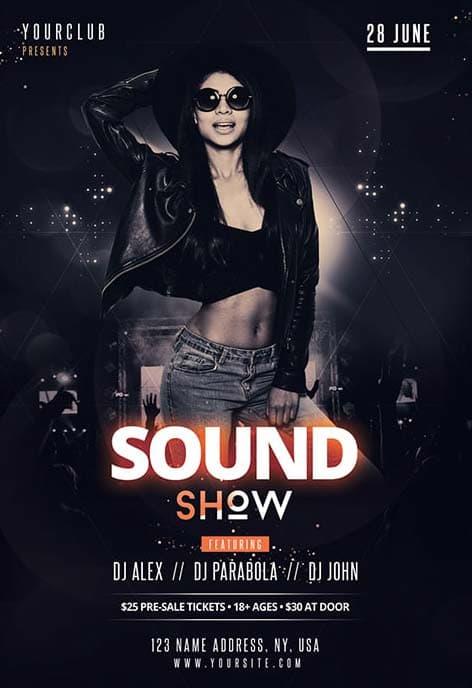Dj Sound Show Free Club Flyer Template Free Flyer Freepsdflyer