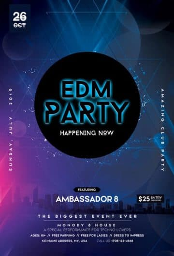 EDM Club Party Free Flyer Template