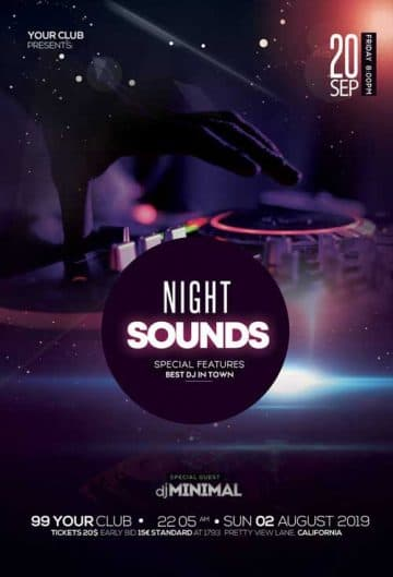 Electronic Music Party Free DJ Flyer Template