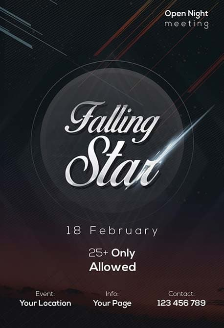 Falling Stars Party Free Flyer Template