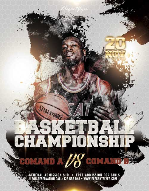 Free Basketball Championship Flyer Template