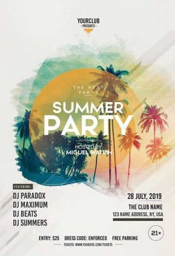Free Beach Summer Party Flyer Template