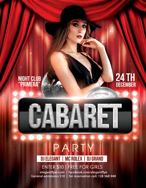 Free Cabaret Party Flyer Template